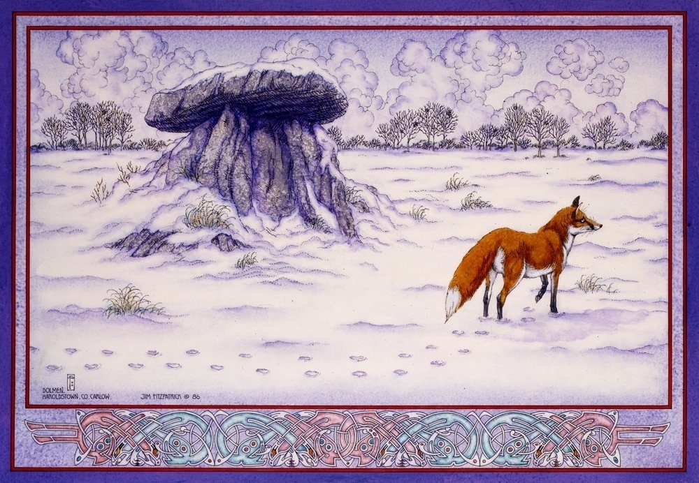Irish, Ireland, Myth, Legend, Irish Myth, Irish Mythology, Celtic, Celtic art, Celtic Mythology, Jim FitzPatrick, Art, Irish Art, Dolmen, fox, winter, snow