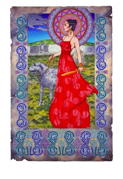 Boann bru na boinne, Boann, Boann the cow goddess, boann Irish goddess, Irish myth Boann, Irish legend boann, newgrange, irish wolfhound, warrior princess, irish, ireland, jim fitzpatrick