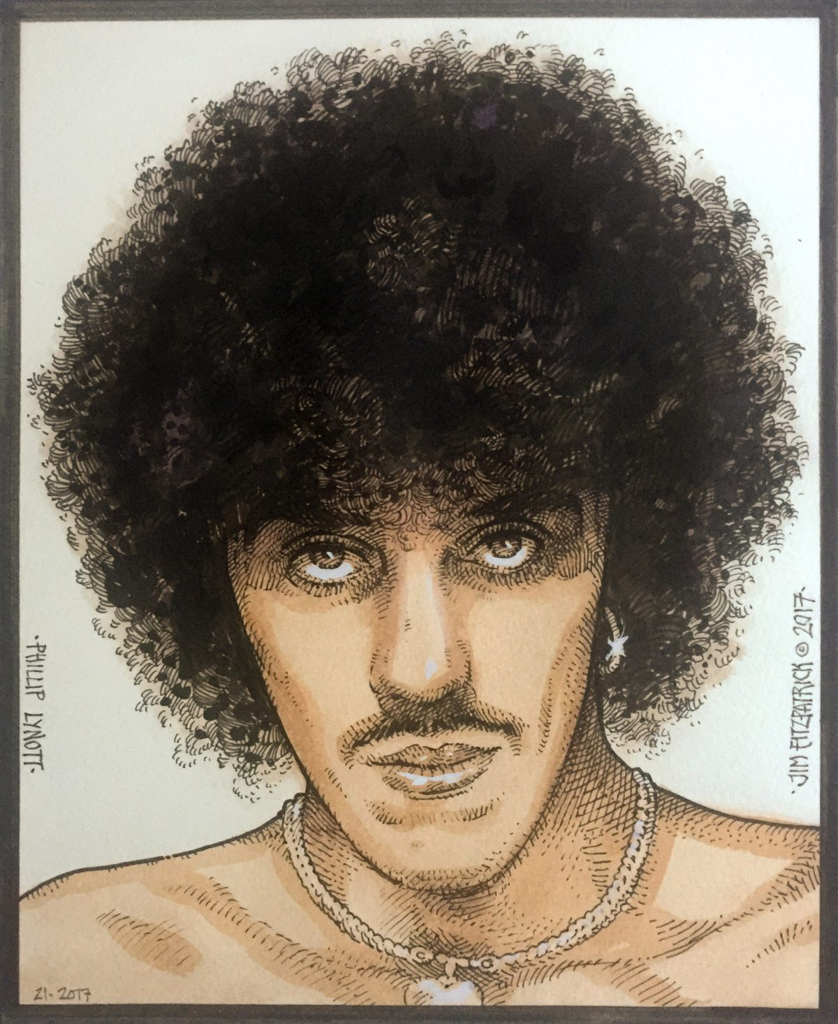 Philip Lynott, Thin Lizzy, Philip Lynott Portrait, Jim FitzPatrick Artist, Art, Watercolor portrait, Thin Lizzy Frontman